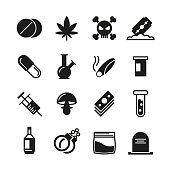 Drugs black vector icons set. Addiction narcotic, marijuana and syringe, mushroom and cocaine illustration