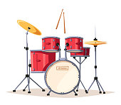 Rock music. Old school party. Cartoon vector illustration. Vintage style. For print and web. Drums. For concert promotion in clubs, bars, pubs and public places.