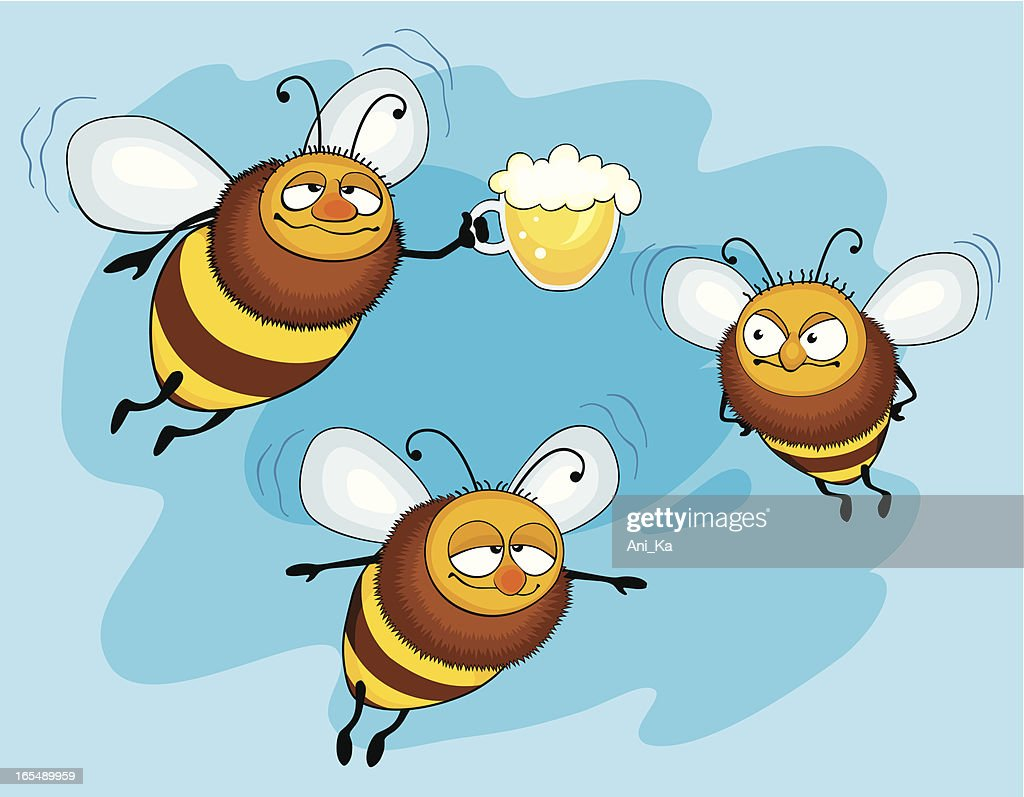 bees with beer vector art getty images