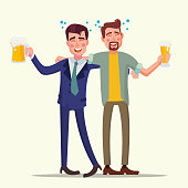Drunk Office Man Vector. Funny Friends. Relaxing Concept. Business Party. Cartoon Illustration