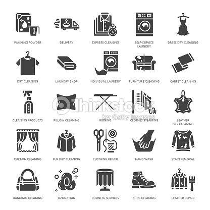 Chemische Reinigung Wäscherei Flache Glyphe Symbole