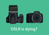 dslr digital camera is dying or die because of the technology vector