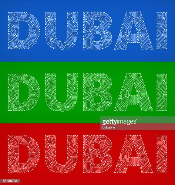 Dubai Circuit Board Color Vector Backgrounds