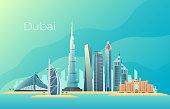 Dubai city landscape. Emirates architecture cityscape vector landmark. Cityscape skyscraper emirates, landscape skyline tower urban building illustration