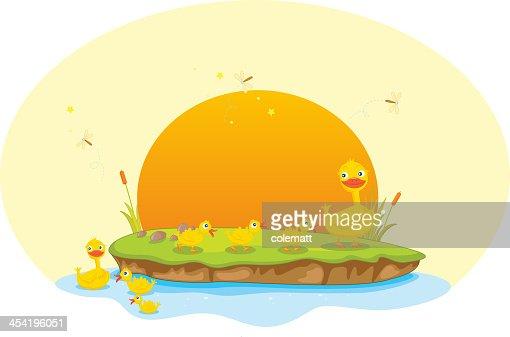Pato y ducklings : Arte vectorial
