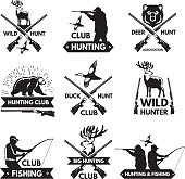 Duck, bear, deer and other animals for hunting. Monochrome labels set with place for your text. Hunting emblem club silhouette, vector illustration