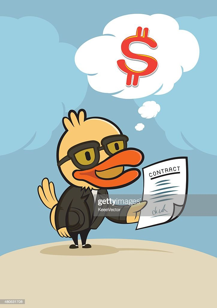 duck businessman think for dollar money : Vectorkunst