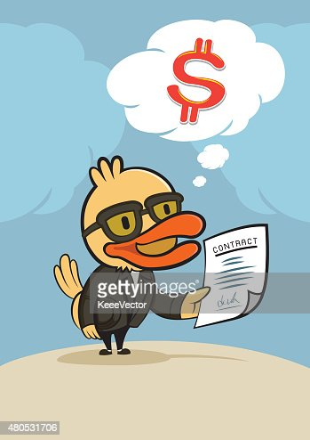 duck businessman think for dollar money : Vector Art