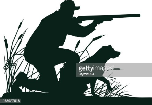 Duck Hunter With Retrieving Dog Silhouette Vector Art ...