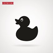 Rubber duck icon isolated on white background. Baby toy. Vector illustration..