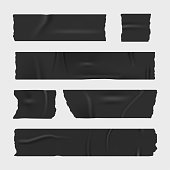 Duct adhesive tape. Realistic stripes set. Vector