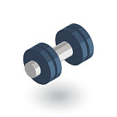 dumbbell, sport, gym isometric flat icon. 3d vector colorful illustration. Pictogram isolated on white background