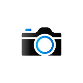 Camera icon in duo tone color. Digital photography snapshot