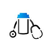 Pills bottle stethoscope icon in duo tone color. Vitamin medicine drugs
