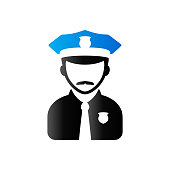 Police avatar icon in duo tone color. People service security