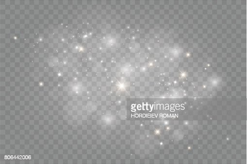 Dust on a transparent background.bright stars.The glow lighting effect : stock vector