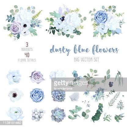 Dusty blue, pale purple rose, white hydrangea, ranunculus : stock vector