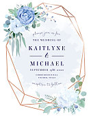 Dusty blue rose,  white hydrangea,anemone, eucalyptus, juniper vector design frame.Stylish pink gold geometry. Watercolor style.Wedding seasonal flower card.Floral composition.Isolated and editable