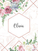 Dusty pink, creamy white antique rose, echeveria succulent, pale flowers vector design wedding frame with pink marble. Eucalyptus, greenery. Floral pastel watercolor style border.Isolated and editable