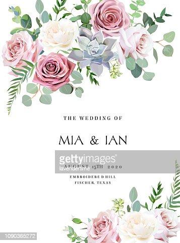 ダスティ ピンク、クリーミーな白いアンティーク バラ、淡い花ベクター デザイン結婚式フレーム : ベクトルアート