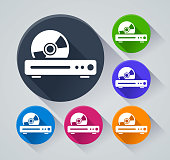 Illustration of dvd player circle icons with shadow