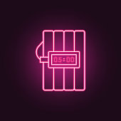 dynamite icon. Elements of Crime Investigation in neon style icons. Simple icon for websites, web design, mobile app, info graphics on dark gradient background