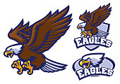 vector of eagle character set in sport mascot style