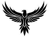 Black vector eagle emblem on the white background.