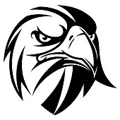 Black and white vector stylized eagle head.