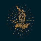 Eagle illustration in golden style on dark background. Design element for poster, card, sign, print. Vector image