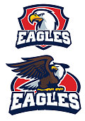 vector of eagle mascot in set