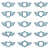 Eagle wings army vector badges. Aviation wing labels. Winged pilot emblems. Label and insignia military illustration