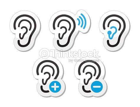 Ear Hearing Aid Deaf Problem Icons Set Vector Art Thinkstock