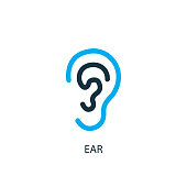 Ear icon. Logo element illustration. Ear symbol design from 2 colored collection. Simple Ear concept. Can be used in web and mobile.