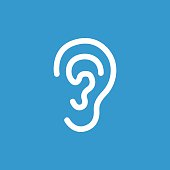 ear icon, isolated, white on the blue background. Exclusive Symbols