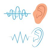 vector icon, ear listen sound, hearing symbol,