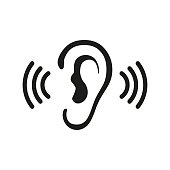 Ear listen vector icon on white background. Ear vector icon. Listening vector icon.