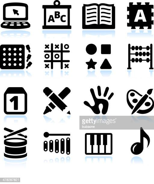 Early education Black & White royalty free vector icon set