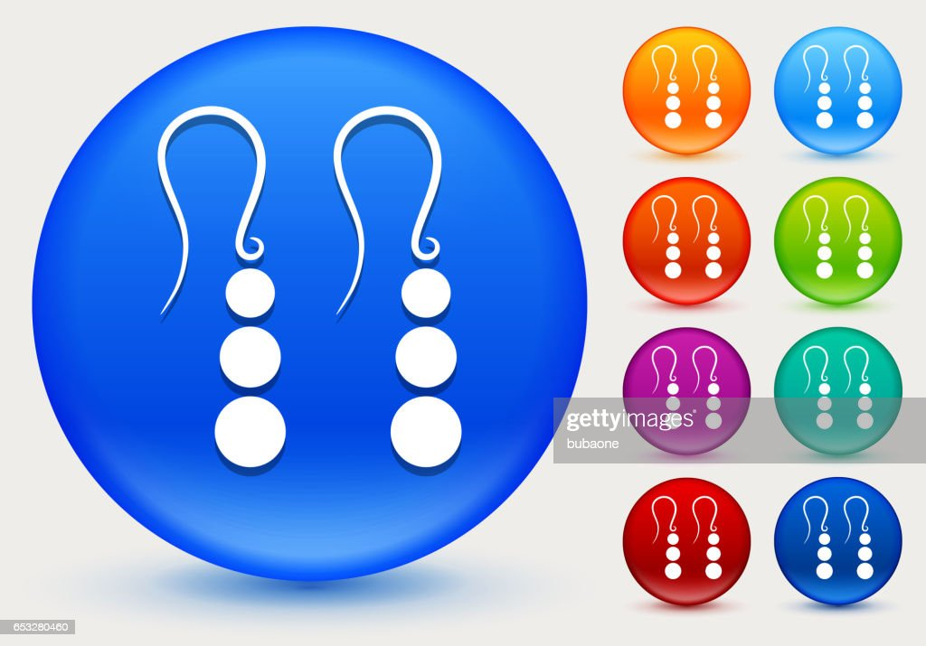 Earrings Icon on Shiny Color Circle Buttons : Vectorkunst