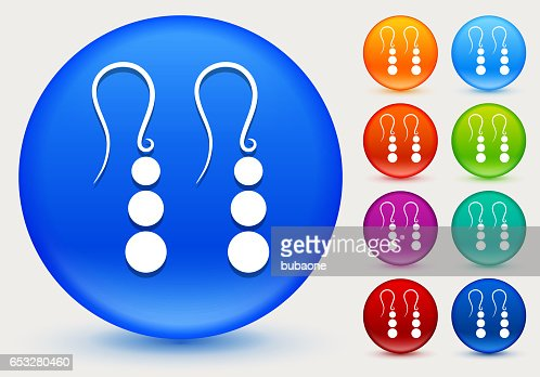Earrings Icon on Shiny Color Circle Buttons : Vector Art