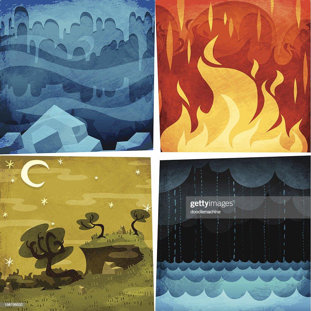 Earth, Air, Fire, Water : Vector Art