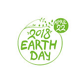 Earth Day. April 22. 2018. Round green vector template isolated on white background.