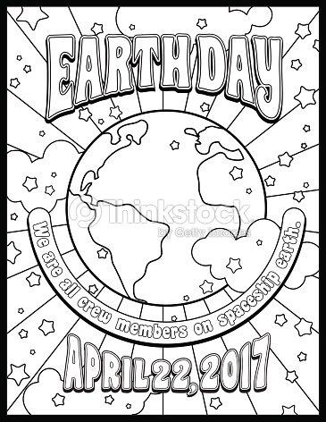 Día De La Tierra Para Colorear Página O Banner Diseño En Estilo ...