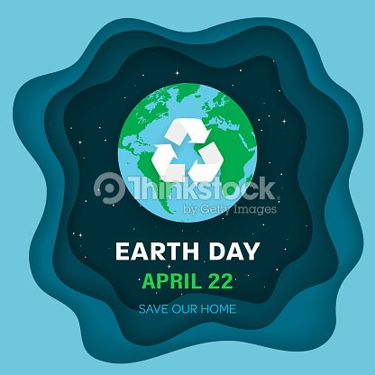 Earth Day Concept Earth Planet In Space Night Sky Background With