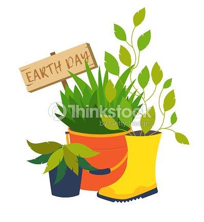 Journee De La Terre Illustrations Vectorielles De Fleur Pot Clipart