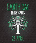 Earth Day poster on black chalkboard with tree. Think green. Vector illustration. All elements are separate. Easily modifying. No mesh. EPS10