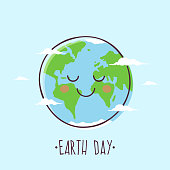Earth Day. Smiling Cartoon Planet Earth.