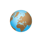 Color Earth globe isolated on white background