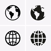 Earth Globe Icons. Vector for web