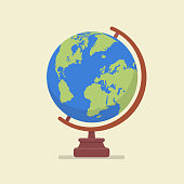 Earth globe model. Flat style vector illustration